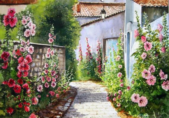 tableau peinture village fleuri roses tr mi res ruelle maisons village des charentes. Black Bedroom Furniture Sets. Home Design Ideas