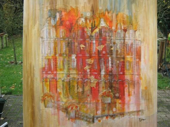 Tableau peinture ville arras places facades arras en fete for Artiste peintre arras