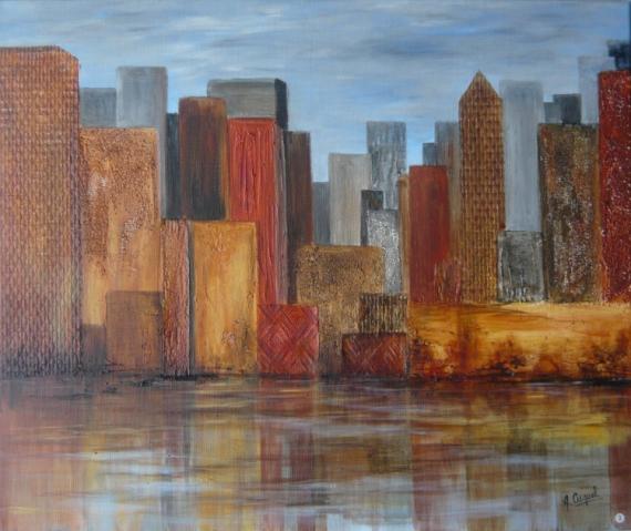 tableau ville immeubles usa reflets architecture acrylique city  p
