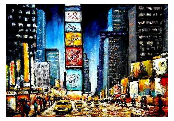 ville sous la pluie peinture r