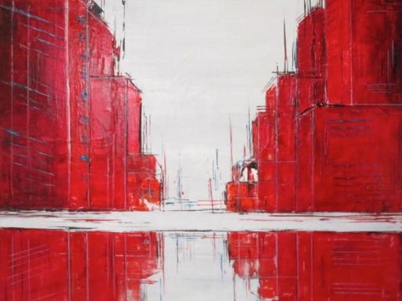 Tableau peinture ville rouge abstrait architecture ville en reflets for Photo de tableau abstrait