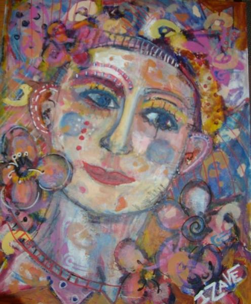 tableau peinture visage femme fleur la paroi dformante de l 39 oubli. Black Bedroom Furniture Sets. Home Design Ideas