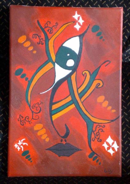 tableau peinture visage oeil rouge orange le regard du visage. Black Bedroom Furniture Sets. Home Design Ideas