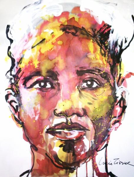 Tableau peinture visage portrait peinture encre de chine homme la coiffe blanche - Peinture sur visage ...