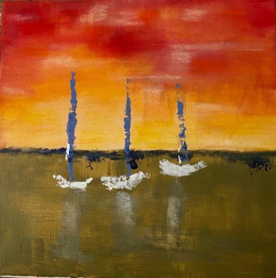 Tableau peinture voiles bateaux mer moderne voiles au couchant - Tableau mer moderne ...
