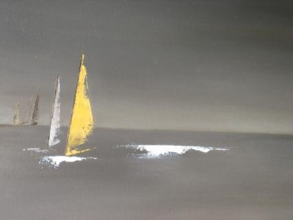 Abstrait peinture marine voilier au couteau sur toile fruski board pictures - Toile imprimee abstrait ...