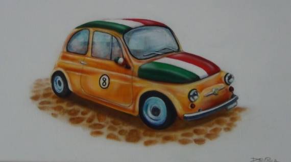 tableau peinture voiture italienne fiat cinquecento fiat 500. Black Bedroom Furniture Sets. Home Design Ideas