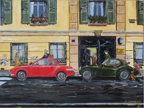 tableau peinture voiture vintage paris animaux porte coch re encombr e. Black Bedroom Furniture Sets. Home Design Ideas