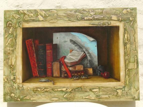 tableau peinture voyages livres niche carte livres dans une niche. Black Bedroom Furniture Sets. Home Design Ideas