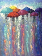 tableau personnages abstraction abstrait parapluies tableau : *On a meeting to a new day*