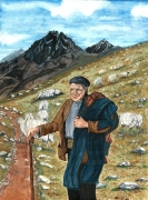 tableau personnages berger montagne moutons pyrenees : Berger catalan