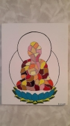 tableau personnages bouddha multicolore lotus : Bouddha