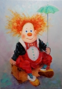 tableau personnages clown bouffon abstraction : painting *Hi, good luck*oil on canvas 50x70cm  Vendu