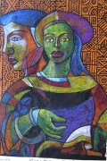 tableau personnages etching calligraph nigerian art drawing : COUPLE