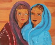 tableau personnages femme maghreb maroc : Sahara