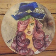 tableau personnages fille pirate cercle portrait : pirate