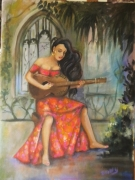 tableau personnages guitariste femme latino robe rouge decor jardin interie : guitariste latino