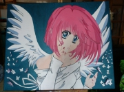 tableau personnages manga ange papillon : L'Ange rose