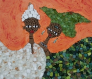 tableau personnages mosaique marbre mariage : mariage