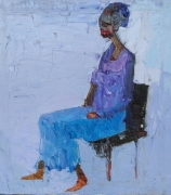 tableau personnages nigerian art auchi school woman blue : RECONSTRUCTION