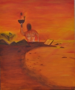 tableau personnages orange singe desert coupe : le destin