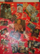 tableau personnages peinture collage personnage chinois : chinois
