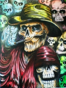 tableau personnages skull mort faucheuse reaper : smoking skull