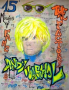 tableau personnages street art andy warhol gris tag : Andy Warhol