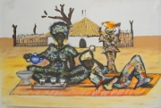 tableau personnages the senegal village : moyen de communication