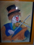tableau scene de genre clown au violon fond jaune : Le clown