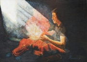 tableau scene de genre lumiere gent travaille rouge : The Wool Dyer