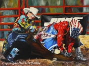 tableau scene de genre rodeo clown cowboy amerique : Couleurs rod�o -Les cow-boys-clowns