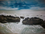 tableau scene de genre sea landscape rocks wave : Rocky Hastings