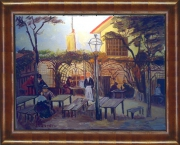 tableau scene de genre terrace entertainment automne impressionisme : Cafe Terrace La Guinguette