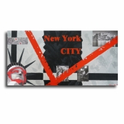 tableau villes tableau new york rouge collage : Tableau moderne new york city toile rouge gris noir art contempo