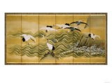Cranes and Wave, Ink, Colour and Gold on Silk - Tani Bunchu