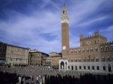 The Piazza Del Campo on a Summer Day with a Few Tourists Around, Siena, Tuscany, Italy