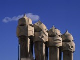 The Strangely Shaped Rooftop Chimneys of La Pedrera Designed by Gaudi, Barcelona, Spain