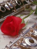 Clarinet and Flute on Sheet Music with Rose - Tomas del Amo