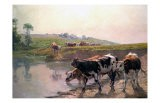 Pasture Cattle at Watering Hole - Vaclav Brozik