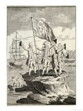 Bougainville and His Men Raise the French Flag on a Small Rock on the Magellan Straits - Vangro