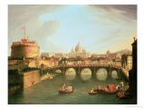 A View of Rome with the Bridge and Castel St. Angelo by the Tiber - Vanvitelli (Gaspar van Wittel)