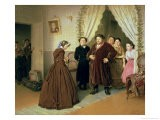 The Governess Arriving at the Merchant's House, 1866 - Vasili Grigorevich Perov