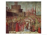 The Pilgrims Meet Pope Cyriac Before the Walls of Rome, from the St. Ursula Cycle, 1498 - Vittore Carpaccio