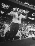 Baseball Fan Jumping Excitedly During Game Between St. Louis Browns and New York Yankees - Wallace Kirkland