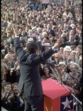 "Richard Nixon Addressing Large Crowd with Arms Upraised and Flashing Trademark ""V"" Symbol - Walter Bennett"