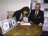 "Treasurer Angela ""Bay"" Buchanan Signs Her Name for Use on American Currency - Walter Bennett"