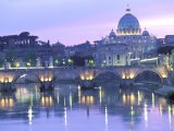 St. Peter's and Ponte Sant Angelo, The Vatican, Rome, Italy - Walter Bibikow