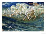 "Neptune's Horses, Illustration for ""The Greek Mythological Legend,"" Published in London, 1910 - Walter Crane"