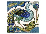 Tile Design of Heron and Fish, by Walter Crane - Walter Crane